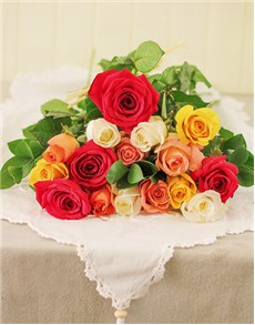 Fifteen mixed rose bouquet in cellophane