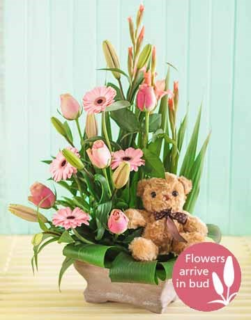 Pink new baby mixed flower arrangement