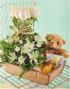 New Baby gift hamper with white roses