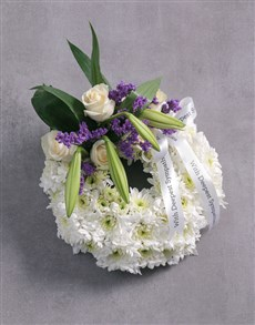 Funeral wreath of fresh flowers