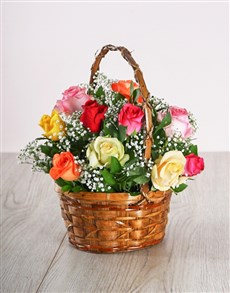 Basket of mixed roses