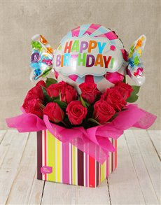 order happy birthday cerise rose and sweety balloon box from netflorist