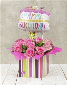 Order Happy Birthday Pink Rose And Cake Balloon Box From Netflorist