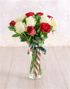 Red and White Candy Cane Roses in a Vase!