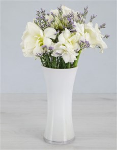 Cut Amaryllis and Latifolia in White Flair Vase!