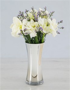 Cut Amaryllis and Latifolia in Silver Flair Vase!