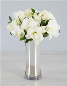 Cut Amaryllis in Silver Flair Vase!