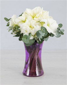 Cut Amaryllis in Purple Cylinder Vase!