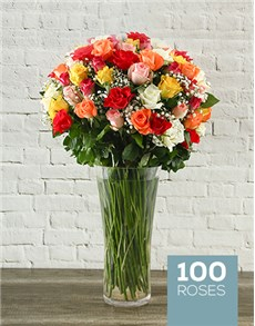 100 Mixed Roses in a Tall Glass Vase