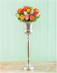 Champagne Stand of Mixed Roses