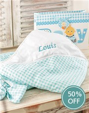 Personalised Baby Picnic Blanket - Blue
