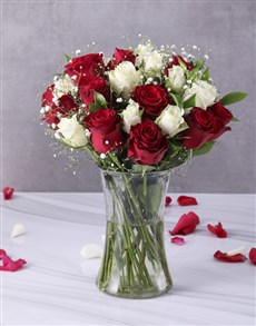 Red and White Roses in Clear Vase!