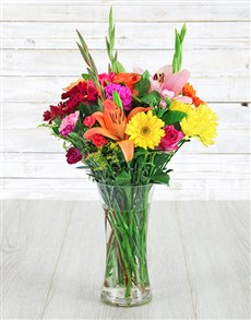 Cheerful Mix in a Glass Vase!
