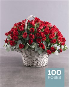 100 Red Roses in a Basket!