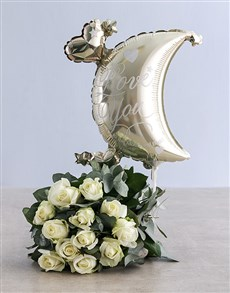 Moon and Back White Rose Bouquet!