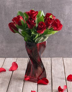 Red Roses in a Red Twisty Vase!