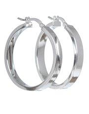 Sterling silver hollow flat hoop round earrings.