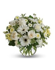 Wondrous white roses, gerberas and carnations in a