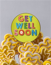 Personalised Get Well Soon Floral Cookie Bouquet