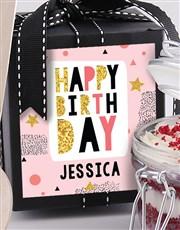 Personalised Glitzy Birthday Red Velvet Cake Jar