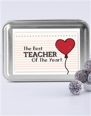Personalised Cool Teacher Fudge Truffle Tin