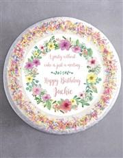 Personalised Floral Birthday Cake