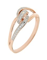 9kt rose gold diamond dress ring featuring a knot