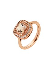 9Kt Rose Gold Ring, Claw set with a Cushion Cut 7