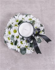 Discovery White Sympathy Wreath With Candle
