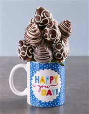 Dipped Strawberries in a Birthday Mug