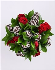 Dark Dipped Strawberries and Red Rose Bouquet