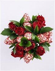 Red Decadence Strawberry and Rose Bouquet