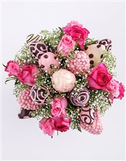 Popping Pink Strawberry and Rose Bouquet