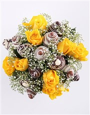 Yellow Happiness Strawberry and Rose Bouquet