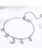 Sterling Silver Bracelet with Filigree moon and st