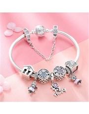 Silver I Love My Family Charm Bracelet. Family is