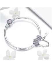 Silver Light Pink Heart and Key Bracelet.  Get thi