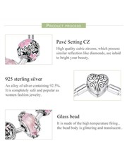 Silver Pink Floral Charm Bracelet With Charms. Get