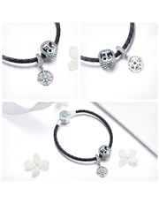 Stunning Sterling Silver and Black Leather and Blu