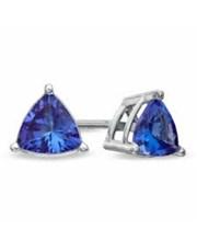 9KT WG Claw Set Trilliant Tanzanite Earrings