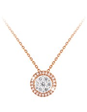 9KT Diamond Halo Necklace.  Pave set with a combin
