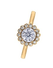 9KT Cubic Round Halo Flower  Ring, set with small