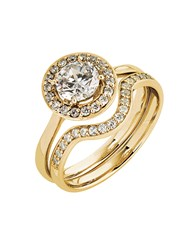 9KT Cubic Round Halo Ring and Wedding Band, set wi