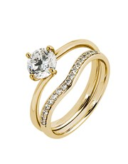 9KT 4 Claw Cubic Solitaire and Band Ring, set with