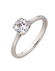 9KT 4 Claw Cubic Solitaire Engagement Ring, set wi