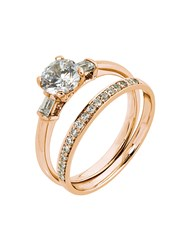9KT Round and Baguette Cubic Ring Set, set with Cu