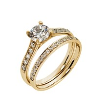 9KT Cubic Detailed Shank Ring Wedding Set , set wi