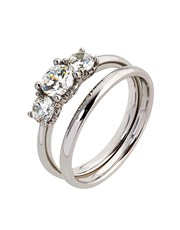 9KT Claw Set 3 Stone Cubic Ring Set, tension set w