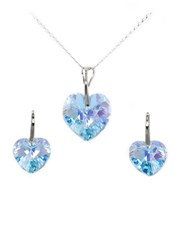 Sterling Silver (925) Heart Drop Necklace and Earr
