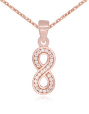 Sterling Silver 925 Rose Gold Plated Drop Infinity